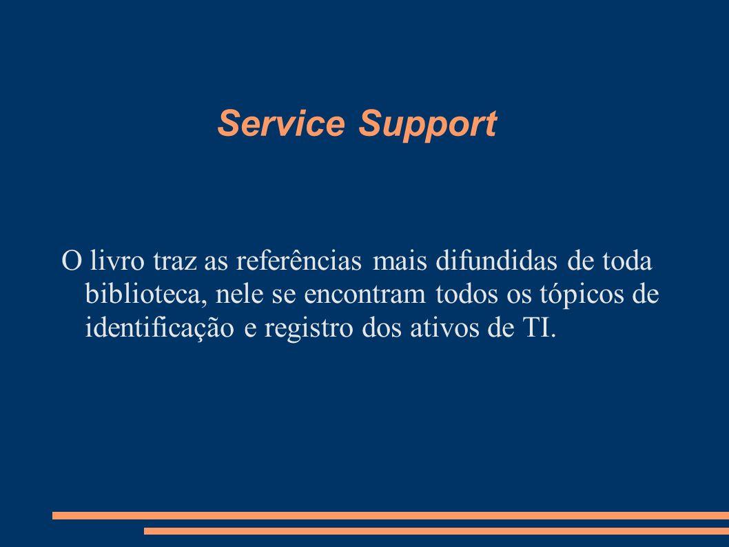 Service Support O livro traz as referências mais difundidas de toda biblioteca, nele se encontram todos os tópicos de identificação e registro dos ati