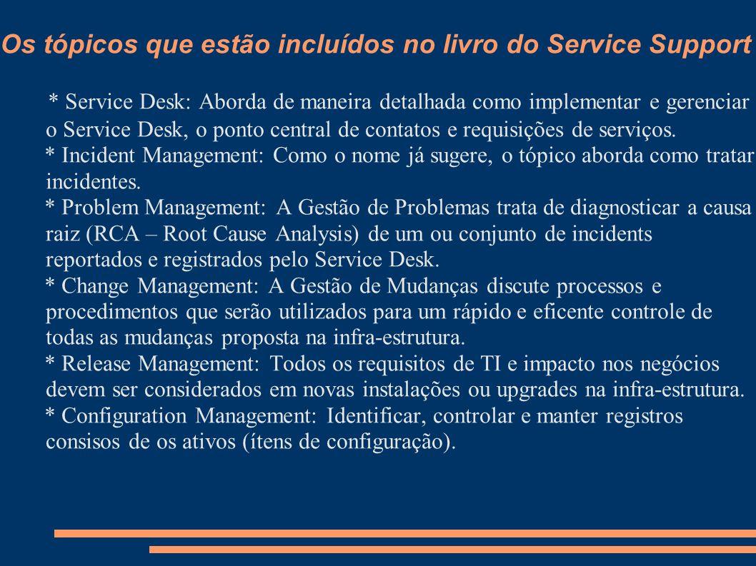 Os tópicos que estão incluídos no livro do Service Support * Service Desk: Aborda de maneira detalhada como implementar e gerenciar o Service Desk, o