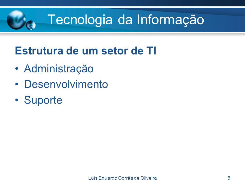 Luís Eduardo Corrêa de Oliveira5 Estrutura de um setor de TI Administração Desenvolvimento Suporte Tecnologia da Informação