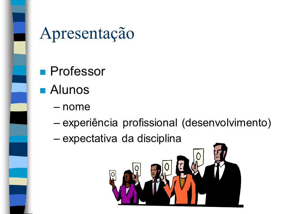 Apresentação n Professor n Alunos –nome –experiência profissional (desenvolvimento) –expectativa da disciplina