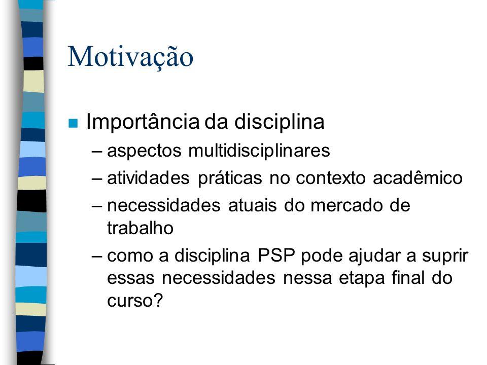 Motivação n Importância da disciplina –aspectos multidisciplinares –atividades práticas no contexto acadêmico –necessidades atuais do mercado de traba