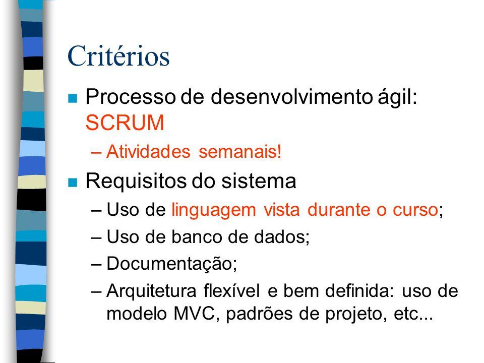Critérios n Processo de desenvolvimento ágil: SCRUM –Atividades semanais! n Requisitos do sistema –Uso de linguagem vista durante o curso; –Uso de ban