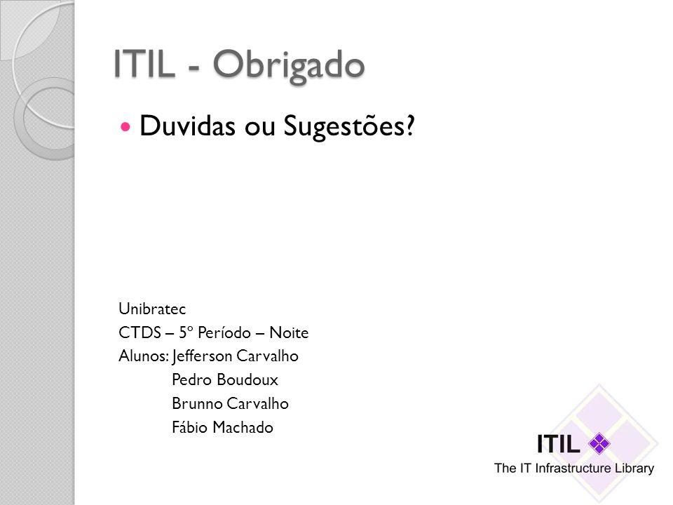 ITIL - Obrigado Duvidas ou Sugestões? Unibratec CTDS – 5º Período – Noite Alunos: Jefferson Carvalho Pedro Boudoux Brunno Carvalho Fábio Machado