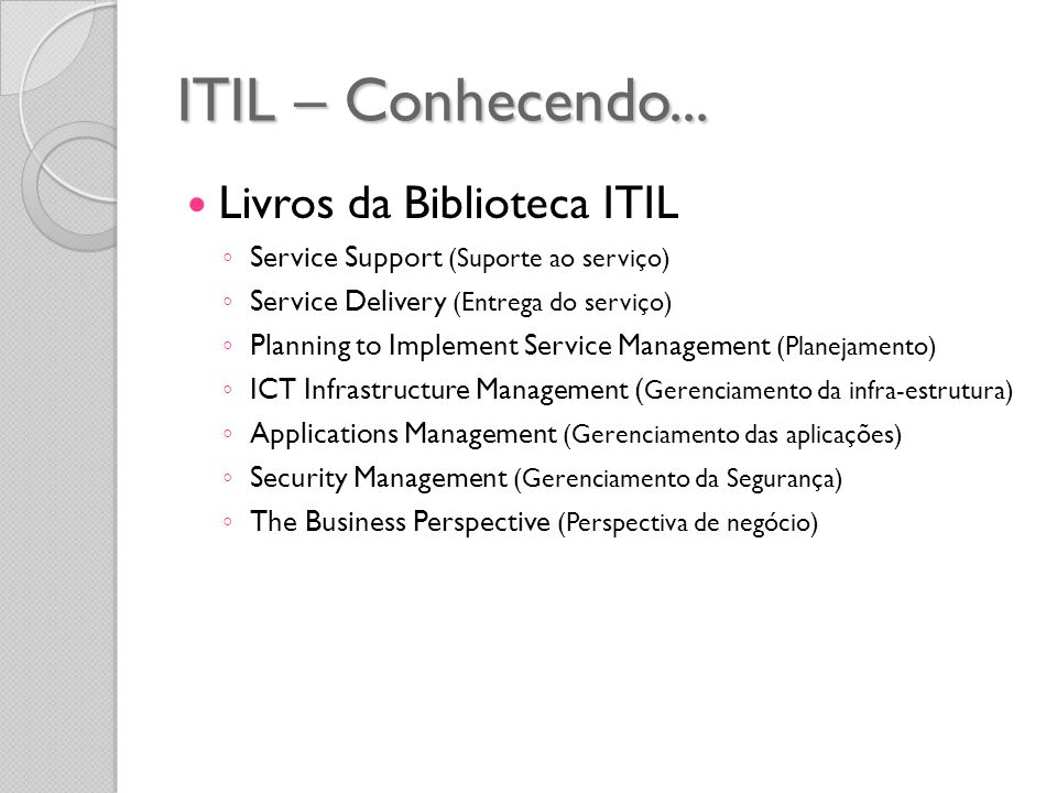 ITIL – Conhecendo... Livros da Biblioteca ITIL Service Support (Suporte ao serviço) Service Delivery (Entrega do serviço) Planning to Implement Servic