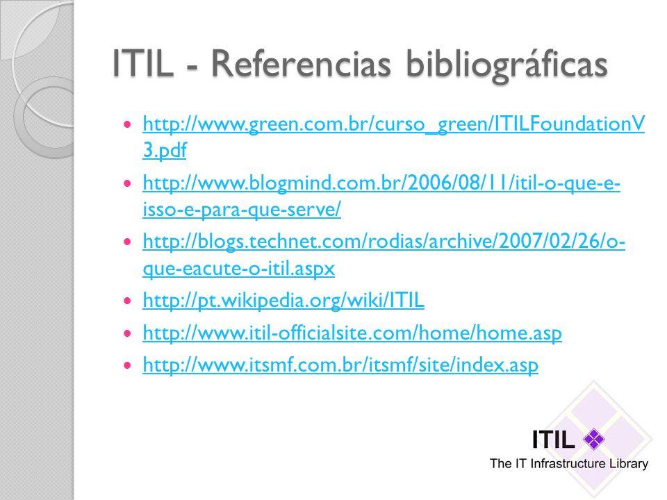 ITIL - Referencias bibliográficas http://www.green.com.br/curso_green/ITILFoundationV 3.pdf http://www.green.com.br/curso_green/ITILFoundationV 3.pdf