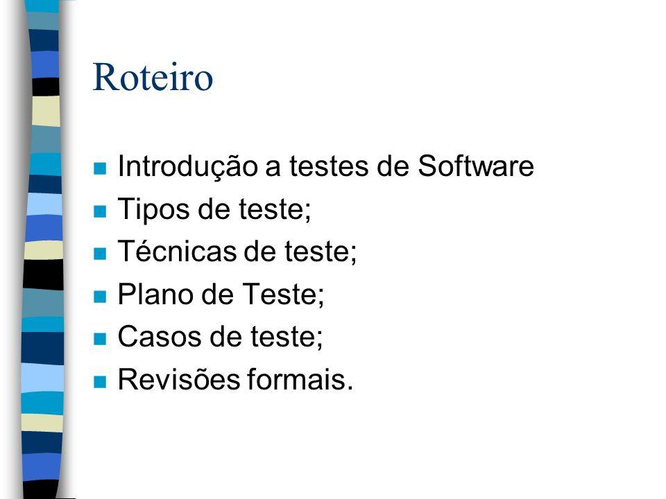Planejar testes n Atividades: –Selecionar requisitos a testar –Definir prioridades –Planejar testes de regressão –Definir estratégia dos testes –Definir o registro dos resultados dos testes e defeitos descobertos –Definir recursos humanos –Definir cronograma de testes –Realizar checklist