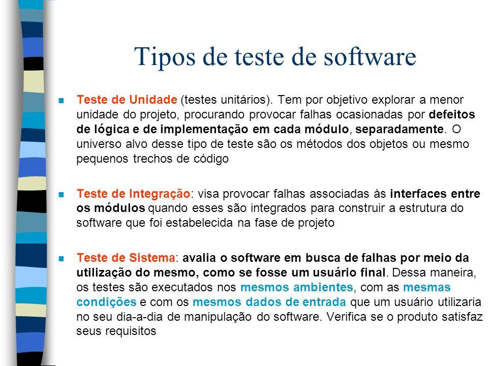 Tipos de teste de software n Teste de Unidade (testes unitários).