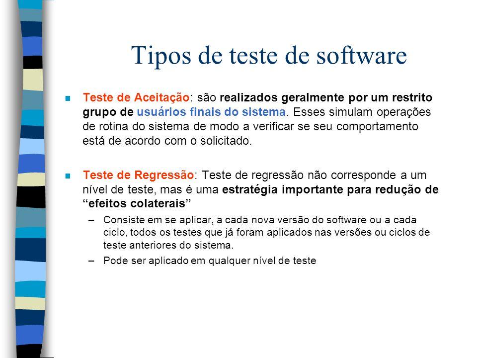Tipos de teste de software n Teste de Aceitação: são realizados geralmente por um restrito grupo de usuários finais do sistema.