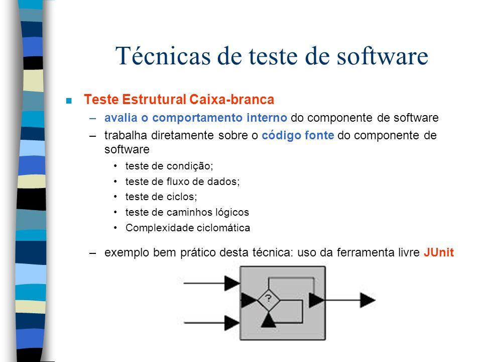 Técnicas de teste de software n Teste Estrutural Caixa-branca –avalia o comportamento interno do componente de software –trabalha diretamente sobre o código fonte do componente de software teste de condição; teste de fluxo de dados; teste de ciclos; teste de caminhos lógicos Complexidade ciclomática –exemplo bem prático desta técnica: uso da ferramenta livre JUnit
