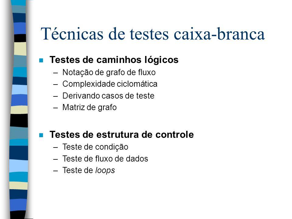 Técnicas de testes caixa-branca n Testes de caminhos lógicos –Notação de grafo de fluxo –Complexidade ciclomática –Derivando casos de teste –Matriz de grafo n Testes de estrutura de controle –Teste de condição –Teste de fluxo de dados –Teste de loops