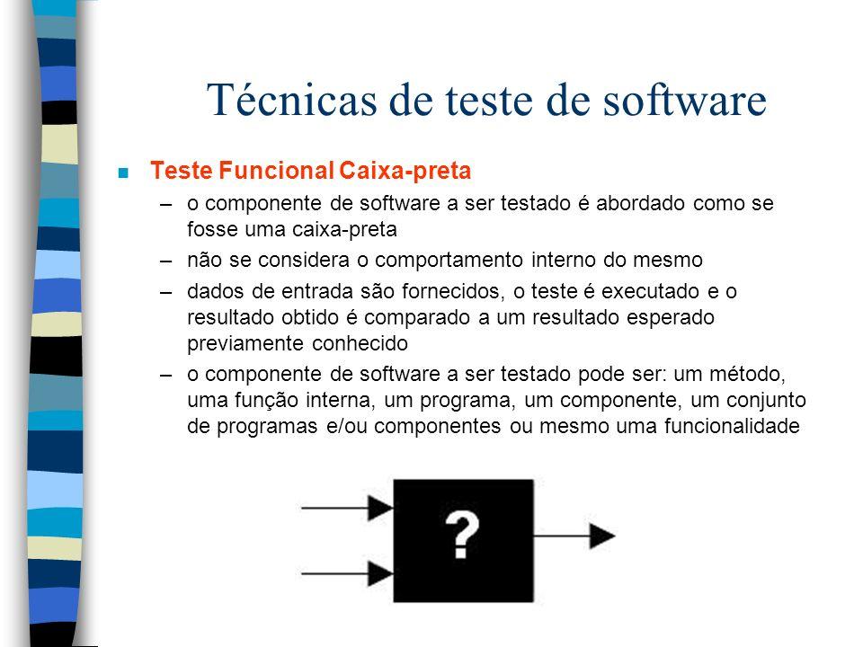 Técnicas de teste de software n Teste Funcional Caixa-preta –o componente de software a ser testado é abordado como se fosse uma caixa-preta –não se considera o comportamento interno do mesmo –dados de entrada são fornecidos, o teste é executado e o resultado obtido é comparado a um resultado esperado previamente conhecido –o componente de software a ser testado pode ser: um método, uma função interna, um programa, um componente, um conjunto de programas e/ou componentes ou mesmo uma funcionalidade
