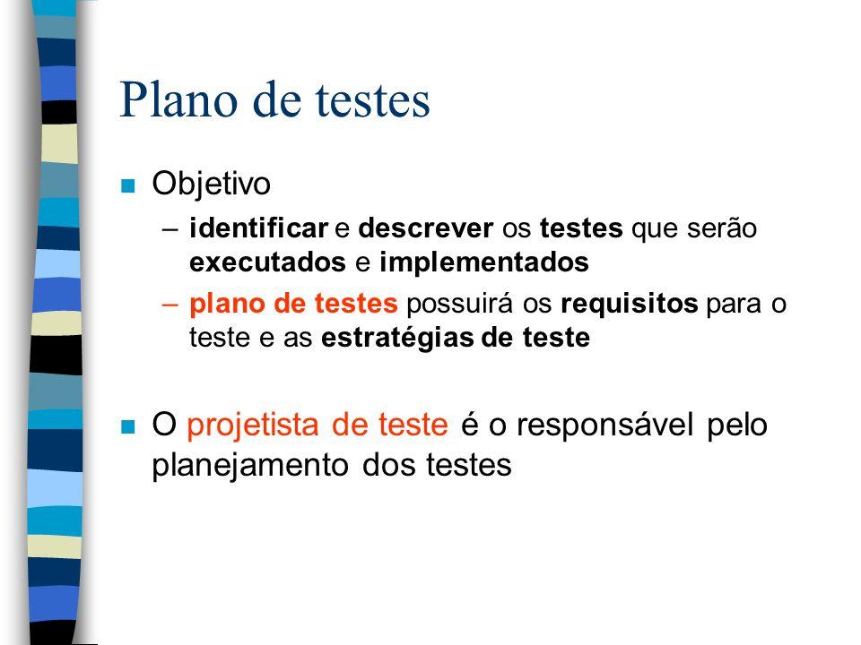 Plano de testes n Objetivo –identificar e descrever os testes que serão executados e implementados –plano de testes possuirá os requisitos para o teste e as estratégias de teste n O projetista de teste é o responsável pelo planejamento dos testes