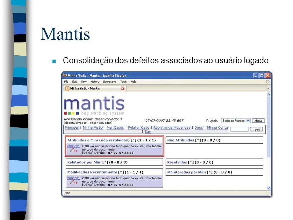 Mantis n Consolidação dos defeitos associados ao usuário logado