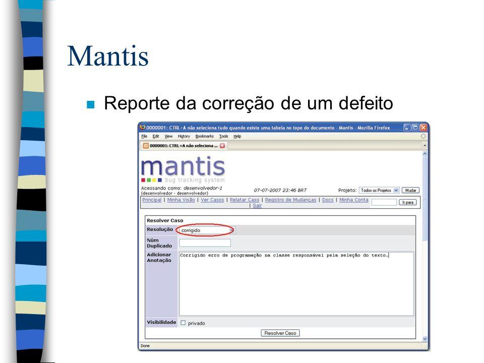 Mantis n Reporte da correção de um defeito