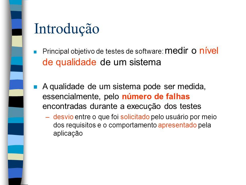 Introdução n Principal objetivo de testes de software: medir o nível de qualidade de um sistema n A qualidade de um sistema pode ser medida, essencial