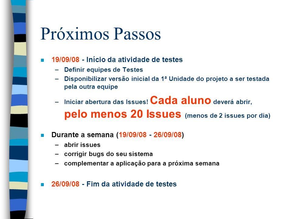 Próximos Passos n 19/09/08 - Início da atividade de testes –Definir equipes de Testes –Disponibilizar versão inicial da 1ª Unidade do projeto a ser te