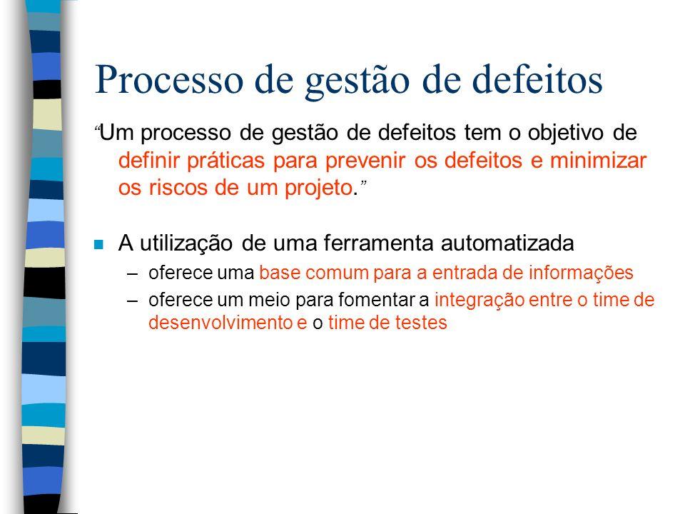 Processo de gestão de defeitos Um processo de gestão de defeitos tem o objetivo de definir práticas para prevenir os defeitos e minimizar os riscos de