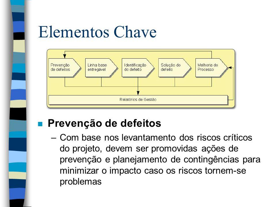 Elementos Chave n Prevenção de defeitos –Com base nos levantamento dos riscos críticos do projeto, devem ser promovidas ações de prevenção e planejame