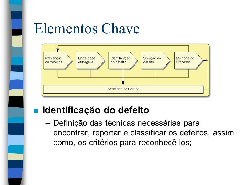 Elementos Chave n Identificação do defeito –Definição das técnicas necessárias para encontrar, reportar e classificar os defeitos, assim como, os crit