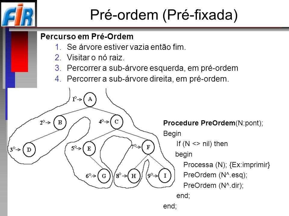Pré-ordem (Pré-fixada) Percurso em Pré-Ordem 1.Se árvore estiver vazia então fim. 2.Visitar o nó raiz. 3.Percorrer a sub-árvore esquerda, em pré-ordem