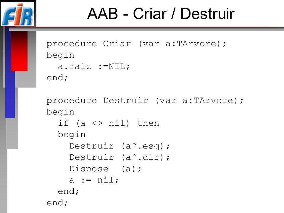 AAB - Criar / Destruir procedure Criar (var a:TArvore); begin a.raiz :=NIL; end; procedure Destruir (var a:TArvore); begin if (a <> nil) then begin De