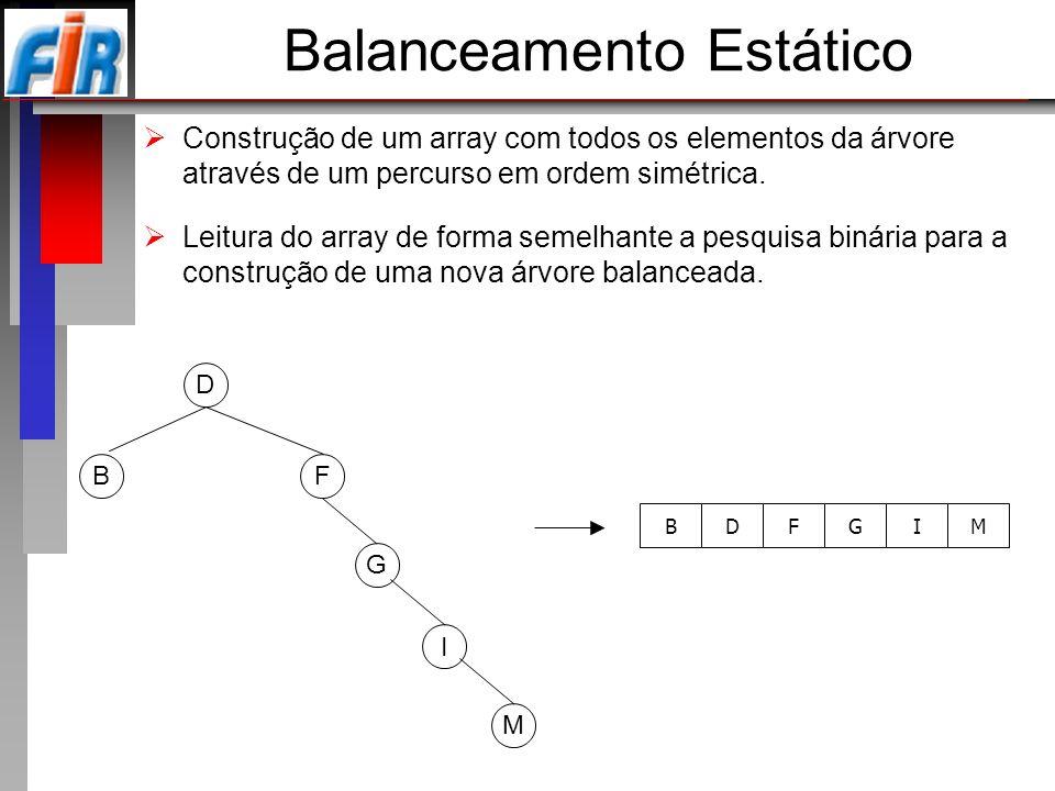 Balanceamento Estático Construção de um array com todos os elementos da árvore através de um percurso em ordem simétrica. Leitura do array de forma se