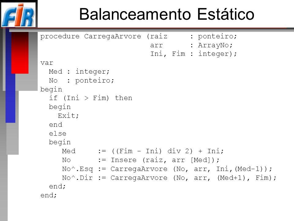 Balanceamento Estático procedure CarregaArvore (raiz : ponteiro; arr : ArrayNo; Ini, Fim : integer); var Med : integer; No : ponteiro; begin if (Ini >