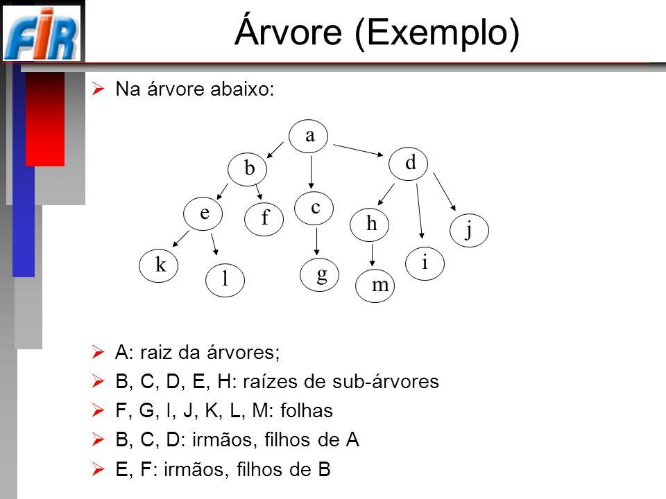Árvore (Exemplo) Na árvore abaixo: A: raiz da árvores; B, C, D, E, H: raízes de sub-árvores F, G, I, J, K, L, M: folhas B, C, D: irmãos, filhos de A E