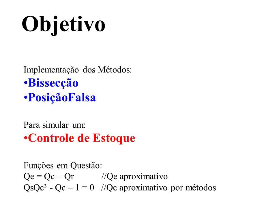 Implementação dos Métodos: Bissecção PosiçãoFalsa Para simular um: Controle de Estoque Funções em Questão: Qe = Qc – Qr //Qe aproximativo QsQc³ - Qc –
