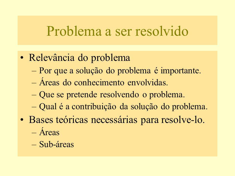 Problema a ser resolvido Relevância do problema –Por que a solução do problema é importante. –Áreas do conhecimento envolvidas. –Que se pretende resol
