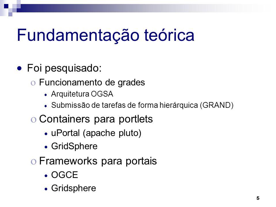 5 Fundamentação teórica Foi pesquisado: Funcionamento de grades Arquitetura OGSA Submissão de tarefas de forma hierárquica (GRAND) Containers para por