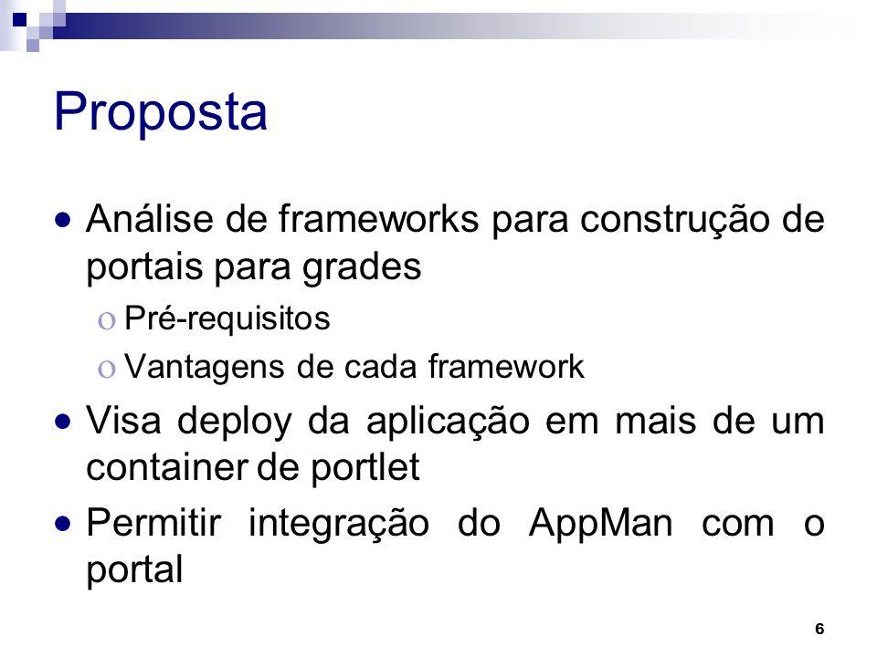 6 Proposta Análise de frameworks para construção de portais para grades Pré-requisitos Vantagens de cada framework Visa deploy da aplicação em mais de