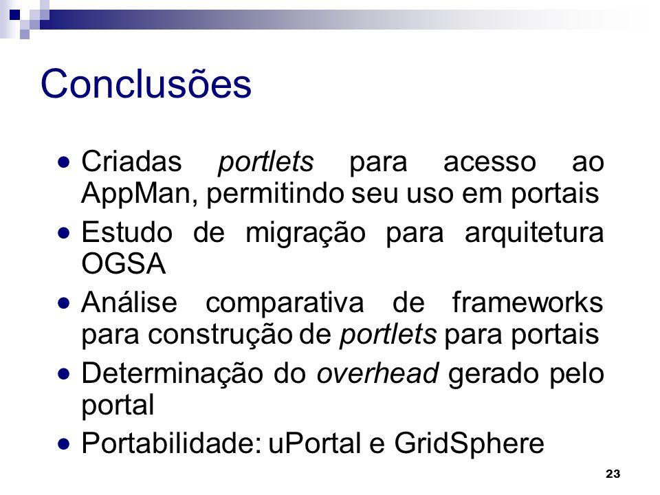 Conclusões Criadas portlets para acesso ao AppMan, permitindo seu uso em portais Estudo de migração para arquitetura OGSA Análise comparativa de frame