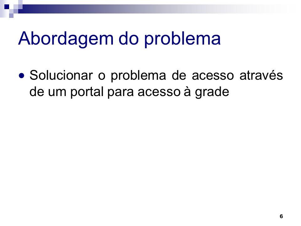 Abordagem do problema Solucionar o problema de acesso através de um portal para acesso à grade 6