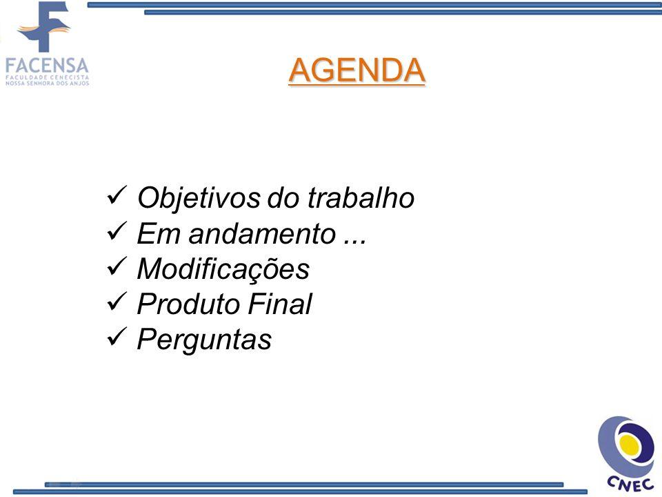 Objetivos do trabalho Em andamento... Modificações Produto Final Perguntas AGENDA