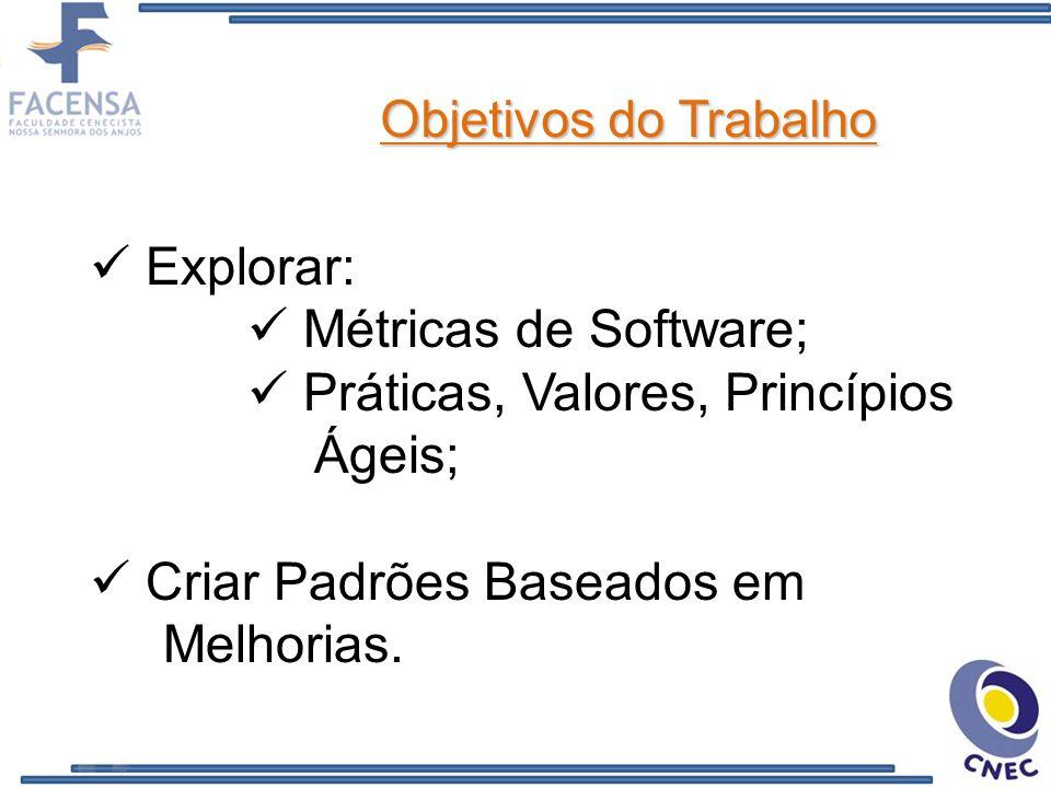 Objetivos do Trabalho Explorar: Métricas de Software; Práticas, Valores, Princípios Ágeis; Criar Padrões Baseados em Melhorias.