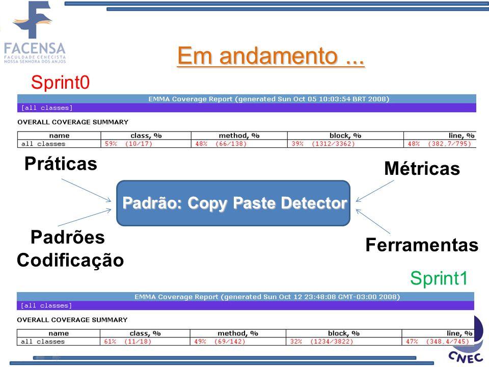 Em andamento... Sprint0 Sprint1 Padrões Codificação Ferramentas Padrão: Copy Paste Detector Práticas Métricas