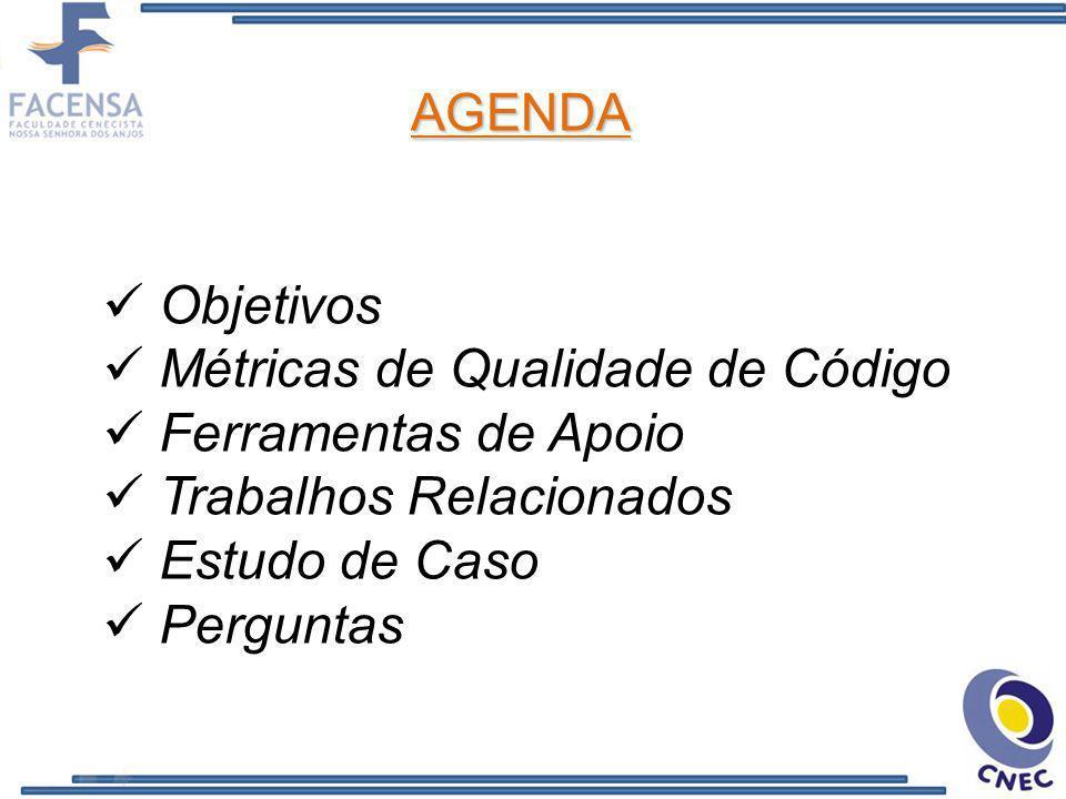 Objetivos Métricas de Qualidade de Código Ferramentas de Apoio Trabalhos Relacionados Estudo de Caso Perguntas AGENDA