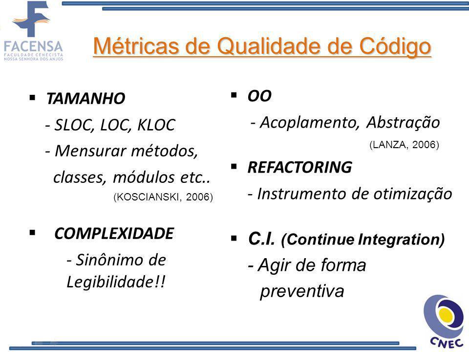 Métricas de Qualidade de Código OO - Acoplamento, Abstração (LANZA, 2006) REFACTORING - Instrumento de otimização C.I. (Continue Integration) - Agir d