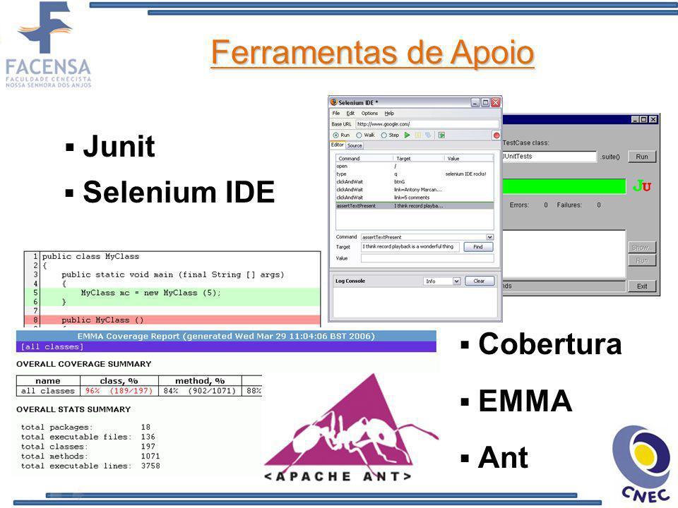 Ferramentas de Apoio Junit Cobertura Selenium IDE Ant EMMA