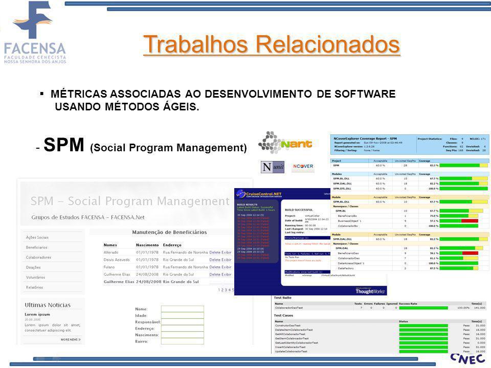 Trabalhos Relacionados MÉTRICAS ASSOCIADAS AO DESENVOLVIMENTO DE SOFTWARE USANDO MÉTODOS ÁGEIS. - SPM (Social Program Management)