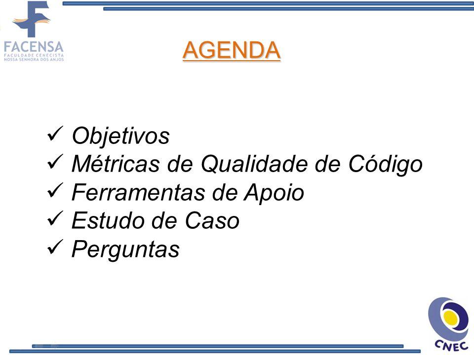 Objetivos Métricas de Qualidade de Código Ferramentas de Apoio Estudo de Caso Perguntas AGENDA