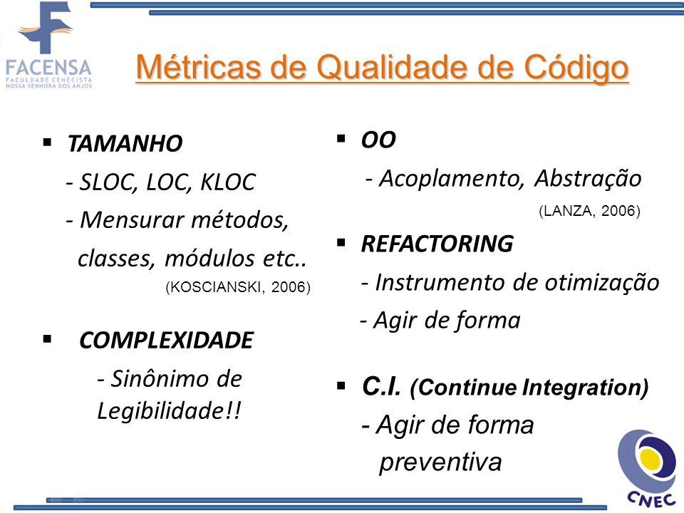 Métricas de Qualidade de Código OO - Acoplamento, Abstração (LANZA, 2006) REFACTORING - Instrumento de otimização - Agir de forma C.I. (Continue Integ