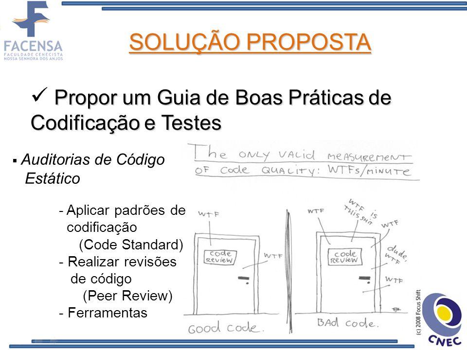 SOLUÇÃO PROPOSTA Propor um Guia de Boas Práticas de Codificação e Testes Auditorias de Código Estático - Aplicar padrões de codificação (Code Standard