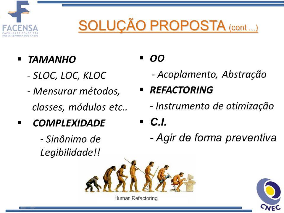 OO - Acoplamento, Abstração REFACTORING - Instrumento de otimização C.I. - Agir de forma preventiva TAMANHO - SLOC, LOC, KLOC - Mensurar métodos, clas