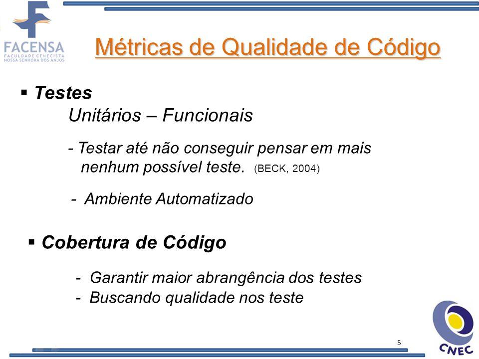 Métricas de Qualidade de Código OO - Acoplamento, Abstração (LANZA, 2006) REFACTORING - Instrumento de otimização C.I.