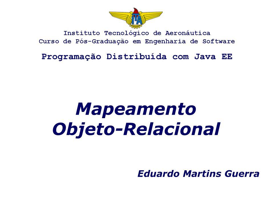 Mapeamento Objeto-Relacional Eduardo Martins Guerra Instituto Tecnológico de Aeronáutica Curso de Pós-Graduação em Engenharia de Software Programação