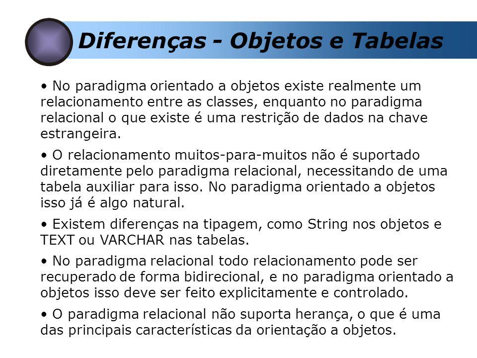 Diferenças - Objetos e Tabelas No paradigma orientado a objetos existe realmente um relacionamento entre as classes, enquanto no paradigma relacional o que existe é uma restrição de dados na chave estrangeira.