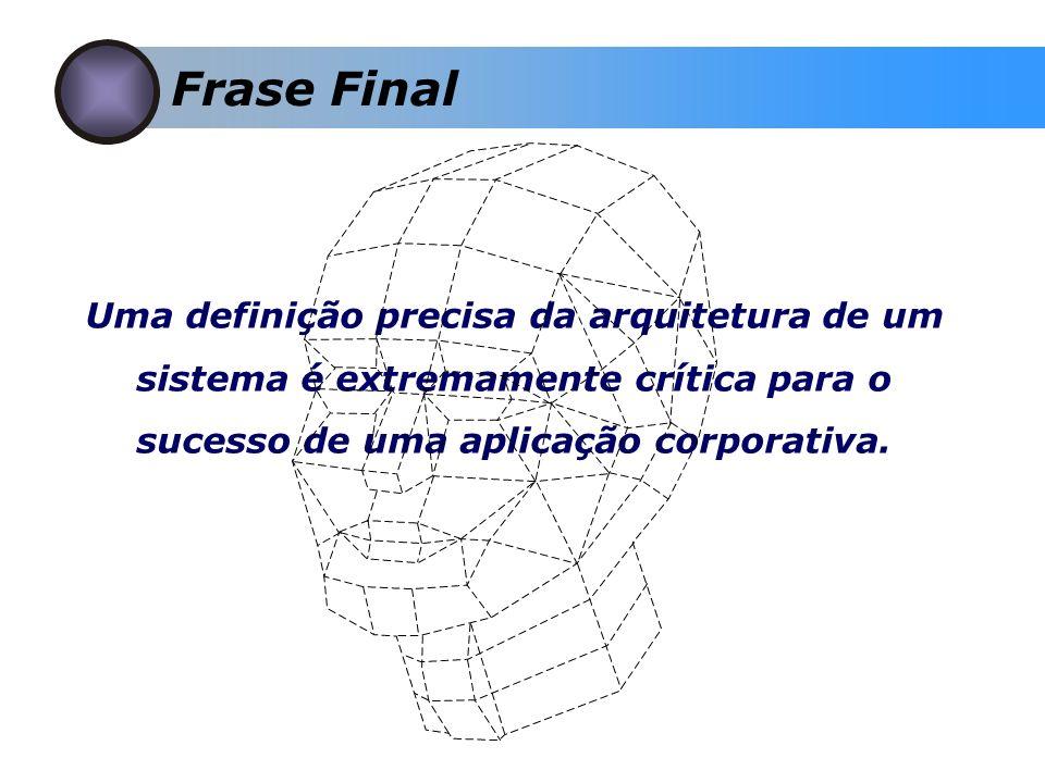 Frase Final Uma definição precisa da arquitetura de um sistema é extremamente crítica para o sucesso de uma aplicação corporativa.