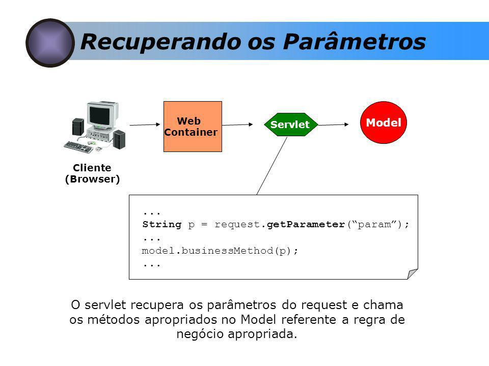 Recuperando os Parâmetros Cliente (Browser) Web Container Servlet Model... String p = request.getParameter(param);... model.businessMethod(p);... O se